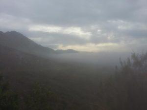 Climbing through morning clouds